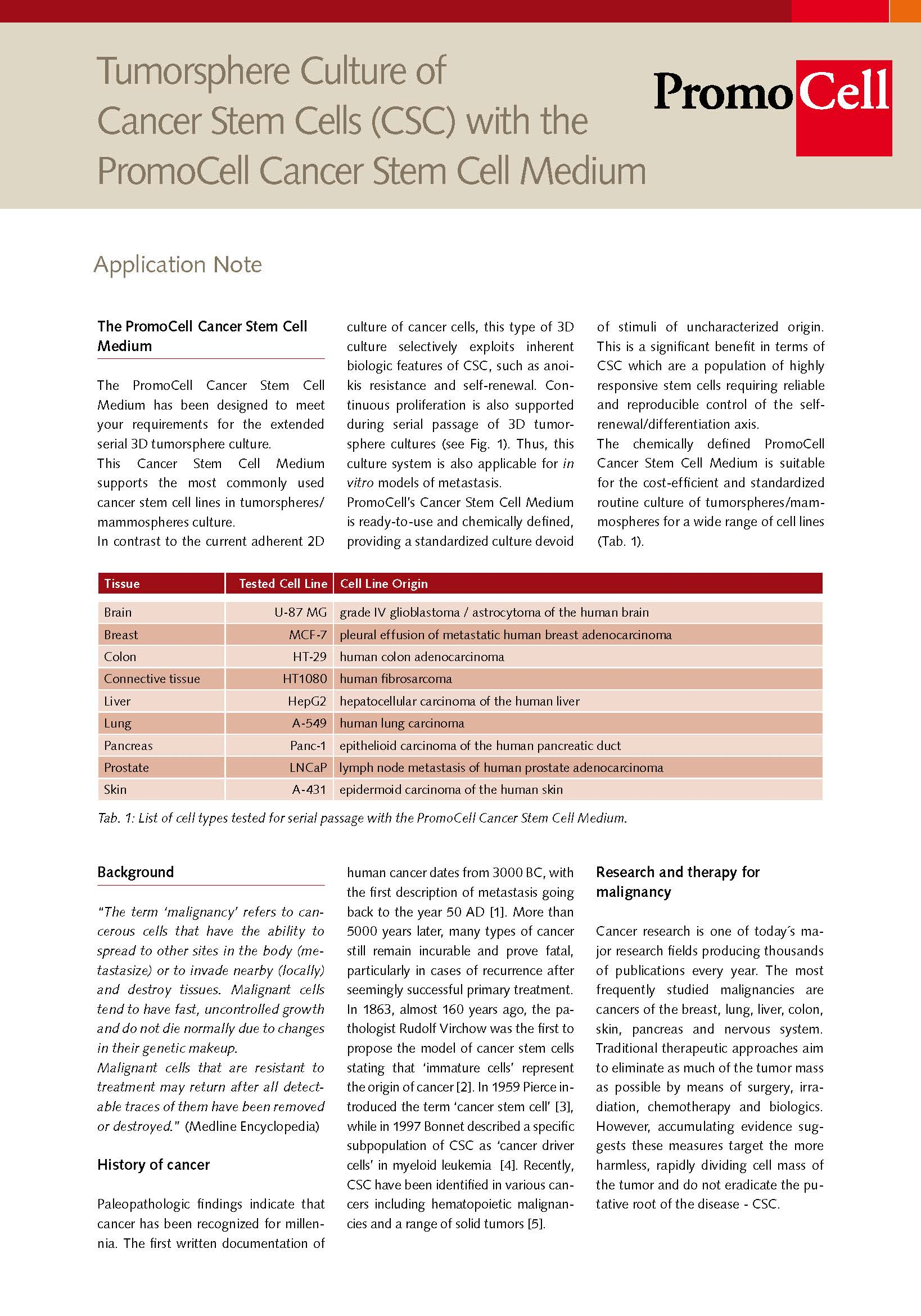 cancer stem cell medium application note